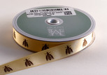 Bees on Maize Ribbon, 5/8 inch, increments of 5 yards or 27-yard roll.