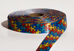 Autism Awareness Puzzle Ribbon, 2 widths, $1/yard--minimum 10 yards