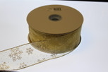 Wired Snowflake  Gold/Gold Sheer Ribbon | 2-1/2 inch width | 50 yards