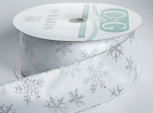 Wired Snowflake Ribbon | Silver on White | 2-1/2 inch wide | 50 yards | 100% Polyester