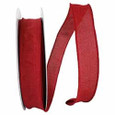Wired Scarlet Linen Ribbon, 50 yards, 2 widths
