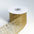 Wired Sheer Circles Ribbon | Gold | 2 1/2 inch width | 10 yards