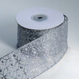 Wired Sheer Circles Ribbon - Silver | 2 1/2 inch wide | 10 yard roll