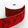 Wired Holly Velvet Ribbon 2 1/2 inch width | 10 yards