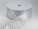 Wired Sheer Chevron Ribbon - Silver | 2 1/2 inch wide | 50  yard roll