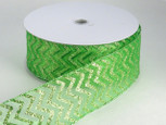 Copy of  Wired Sheer Chevron Ribbon - Green | 2 1/2 inch wide | 50  yard roll