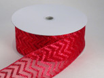 Wired Sheer Chevron Ribbon - Red | 2 1/2 inch width | 50  yards