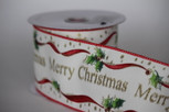 Wired Merry Christmas Rribbon |2 1/2 Iinch Width |10 yards