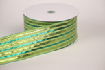 Wired Green Baroque Noel Ribbon | 2 1/2 Inch Width | 50 Yards