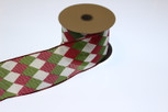 Wired Harlequin Holiday Ribbon | 2 1/2 Inch Width | 10 Yards