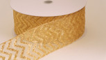 Wired Sheer Chevron Ribbon -Gold| 2 1/2 inch wide | 50  yard roll