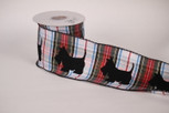 Wired Scottie Dogs on plaid ribbon | 4 inch wide | 10 yards