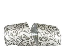 Filigree Leaves Plush Velvet Silver Back