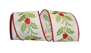 Wired Holly Wine Embroidered Ribbon