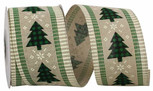 Buffalo Check Trees Ticking Linen| 2.5 Inches Wide | 10 Yards |