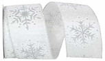 wired Snowflakes Glitter Cindy| 2.5 Inches wide| 10 Yards
