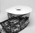 """Toile, Black on White Ribbon,  2-1/2"""" width, 10-yard roll, wired"""