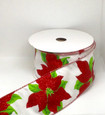Wired White Poinsettia Glitz| Width 2.5 Inches | 20 Yards