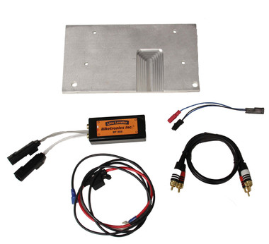 Street Glide and Ultra Kit includes mounting plate, BT355 Line Leveler, power cable with fuse, RCA cable, and amplifier enable wire.