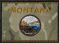 Montana State Flag with Camo background velcro patch