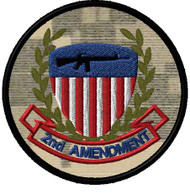 2nd Amendment shield patch in full color, acu background.