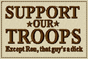 support our troops patch in tans