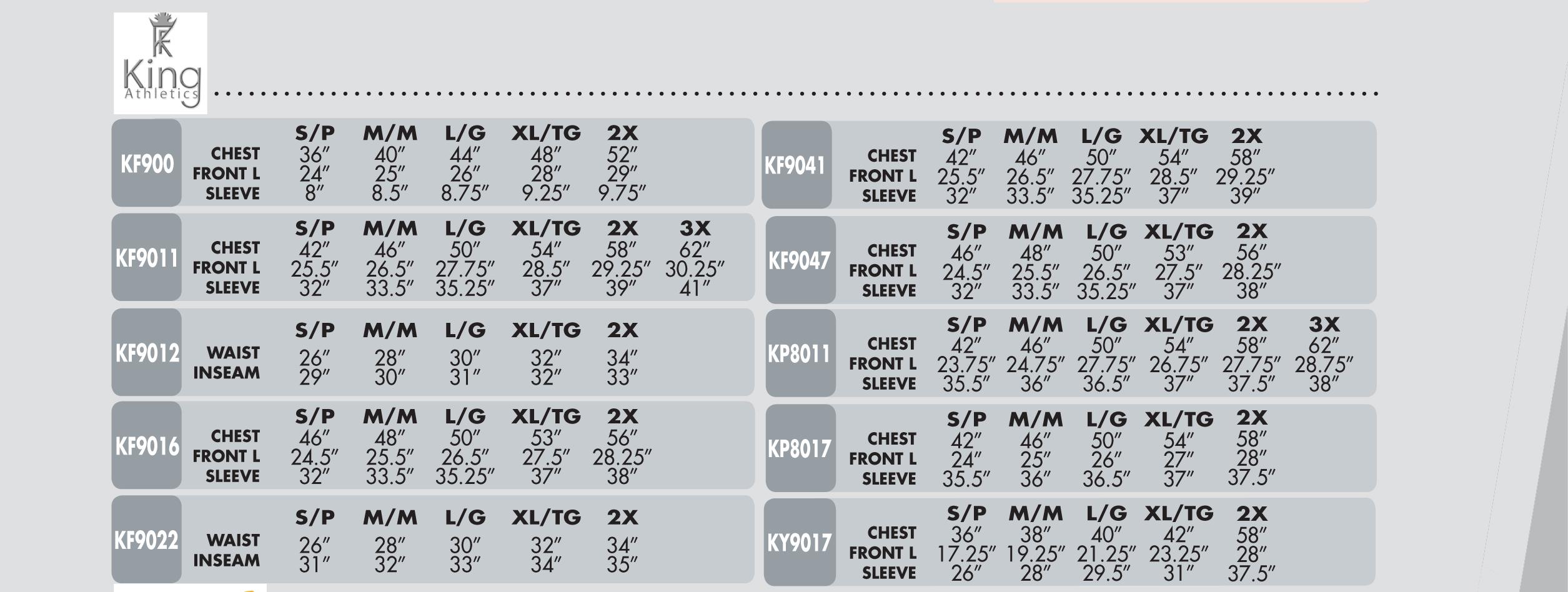 King Athletics Size Chart