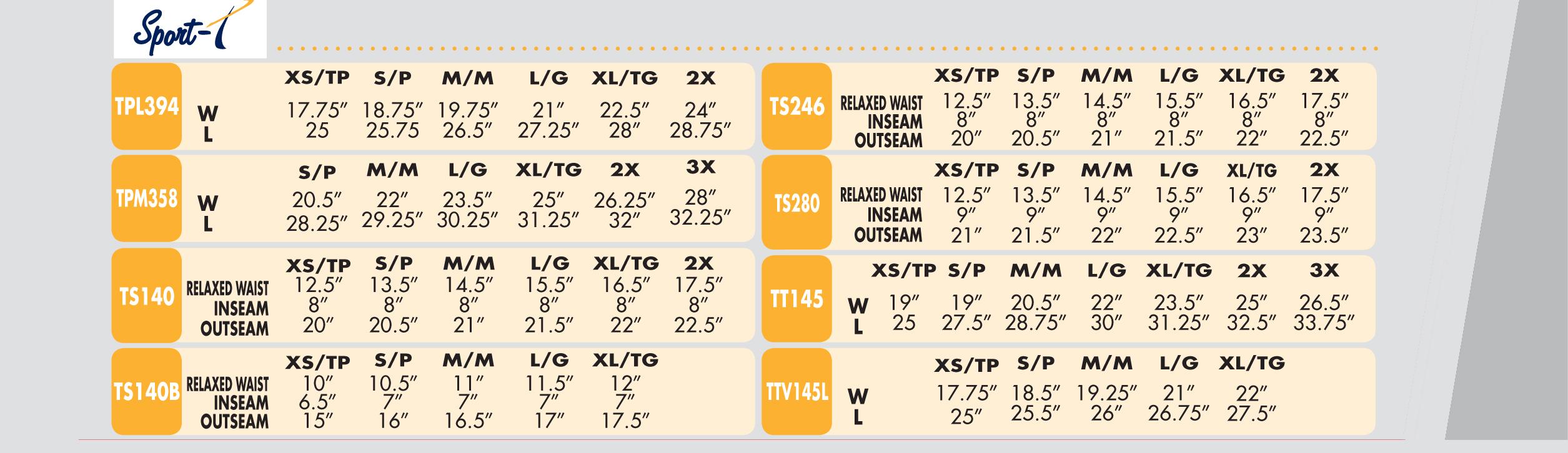 Sport-T Size Sheet