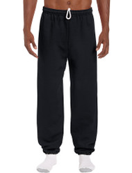 Black - 18200 Gildan Cuffed Bottom Fleece Pants | T-shirt.ca