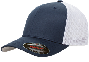 Navy/White - FF6511 Flexfit Mesh Trucker Cap | T-shirt.ca