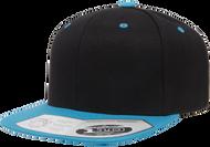 Black/Teal -  FF110F Flexfit Wool Blend Flat Bill Snapback Hat | T-shirt.ca