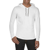 White/Dark Grey - 987 Anvil CRS Long-Sleeved Hooded Tee | T-shirt.ca