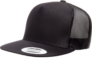 Black - YU6006 Yupoong 5 Panel Mesh Trucker Cap | T-shirt.ca