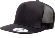 Black - YU6006 Yupoong 5 Panel Mesh Trucker Cap | T-shirt.ca