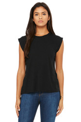 Black - B8804 Bella + Canvas Women's Flow Muscle Tee With Rolled Cuff