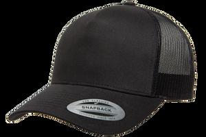 Black - YU6506 Yupoong Five Panel Retro Trucker Cap   T-shirt.ca