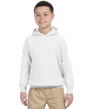 White - 18500B Gildan Youth Hooded Sweatshirt | T-shirt.ca
