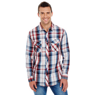 Red - BR8202 Burnside Men's Long Sleeve Plaid