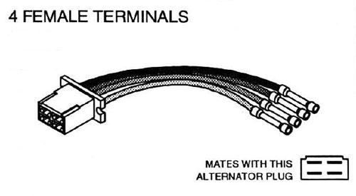 japanese import alternator repair connector 4 female wire terminals