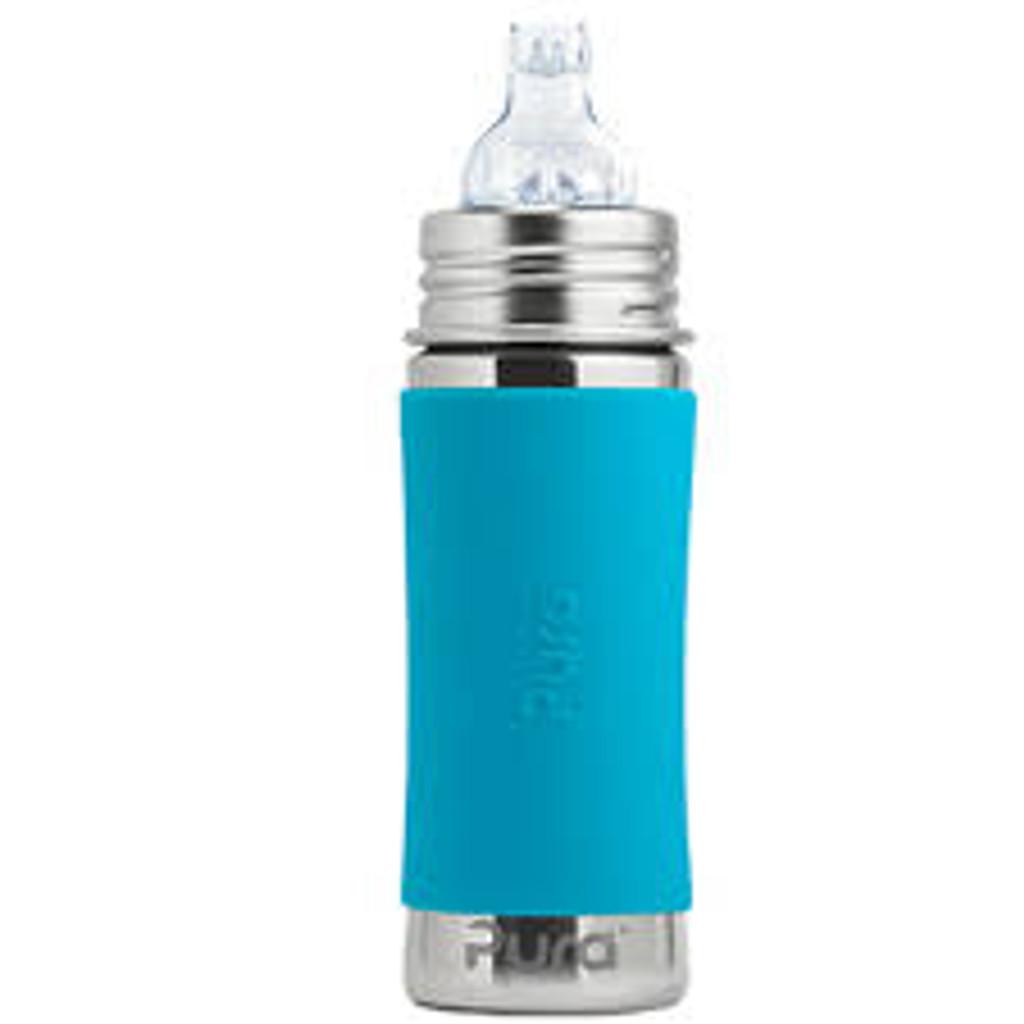 Pura Kiki Sippy Bottle 11oz - Aqua Sleeve