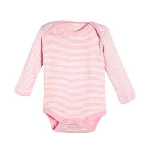 Living Crafts Organic Cotton Long Sleeve Onesie - Pink Stripes
