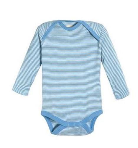 Living Crafts Organic Cotton Long Sleeve Onesie - Blue Stripes