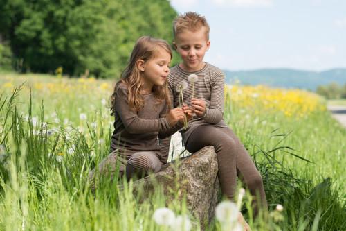Engel Organic Merino Wool/Silk Kids Shirt- Walnut/Natural