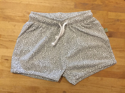 Nui Organics Toni Shorts - White with Taupe Grey Bubbles