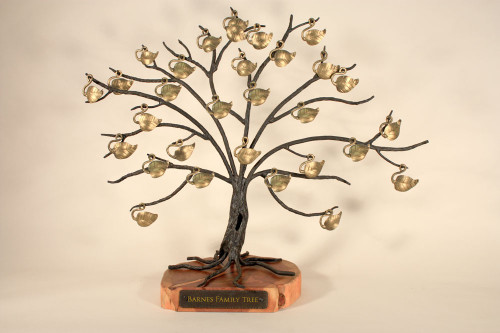 Heirloom Quality Hand Forged Iron Family Tree With Hand Polished Wood Base