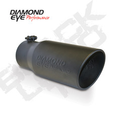 "DIAMOND EYE EXHAUST TIP BLACK LOGO EMBOSSED 4"" INLET 5"" OUTLET 12"" LONG - 4512BRA-DEBK"