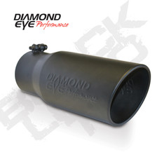 "DIAMOND EYE EXHAUST TIP BLACK LOGO EMBOSSED 5"" INLET 6"" OUTLET 12"" LONG - 5612BRA-DEBK"