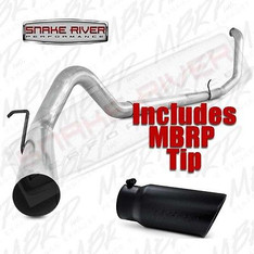"S6200PLM T5051BLK - MBRP 4"" EXHAUST 99-03 FORD POWERSTROKE DIESEL 7.3L STRAIGHT PIPE w BLACK TIP"