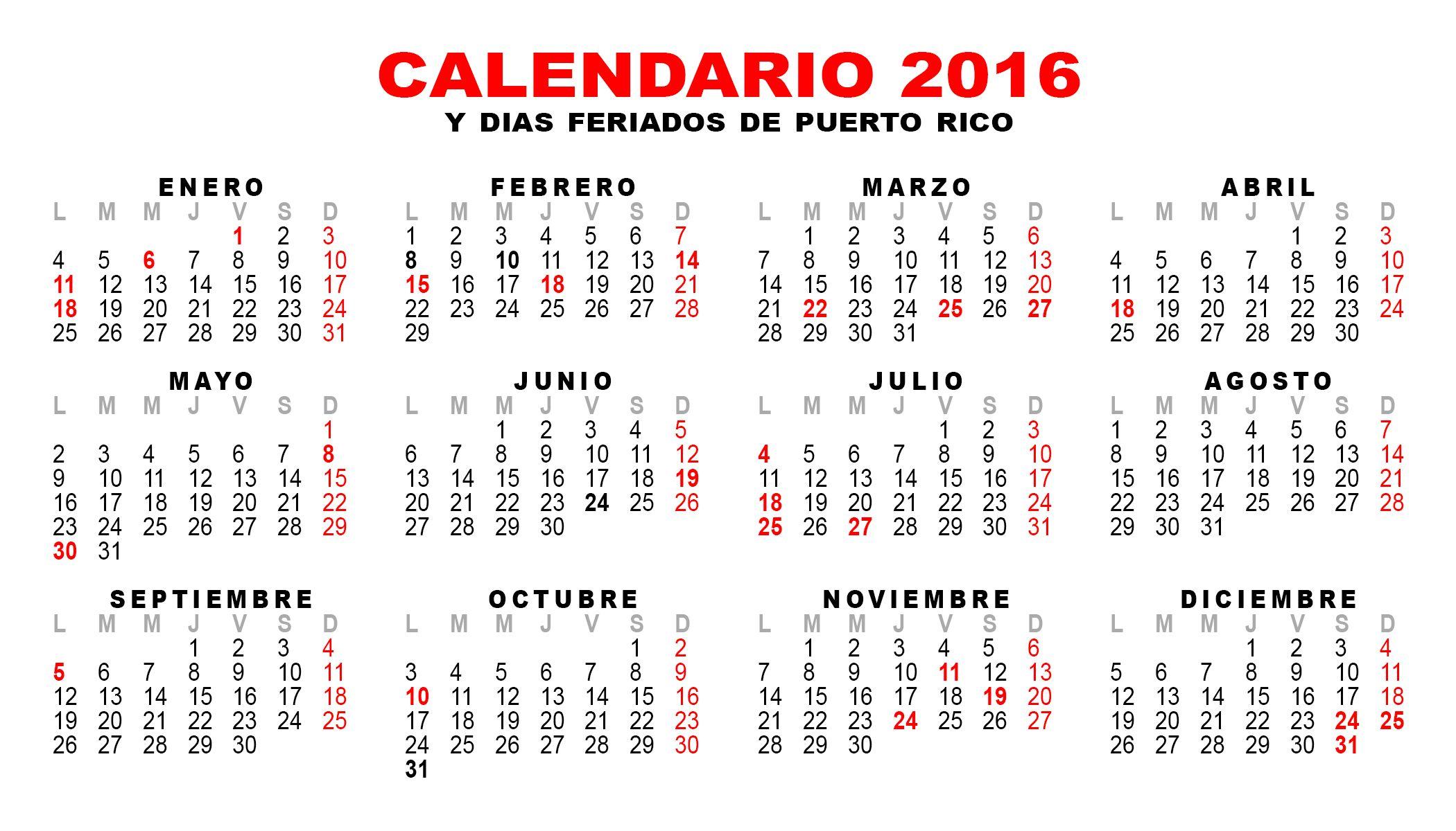 Calendarios 2018 Puerto Rico