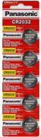 [ 5pcs ] -- Panasonic Cr2032 3v Lithium Coin Cell Battery Dl2032 Ecr2032